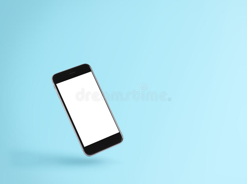 Phone blank screen on blue background royalty free stock photography