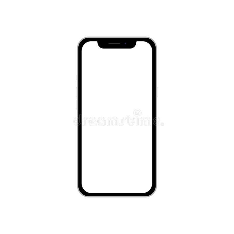 Phone with a blank white screen for infographic global business marketing investment plan, mockup model web design. Flat, top view royalty free stock image