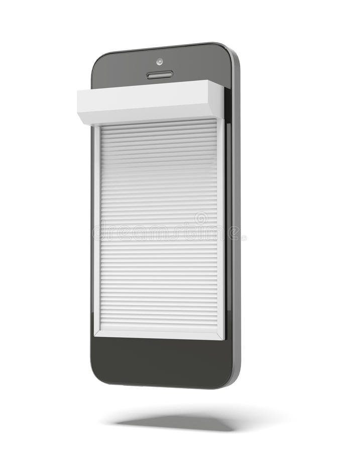 Phone with Blinds. Isolated on a white background. 3d render royalty free illustration