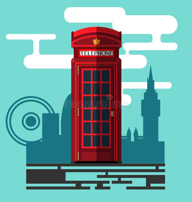 Phone booth. On city background in a flat style, tele, phone box, telephone box. Vector, EPS 10 stock illustration