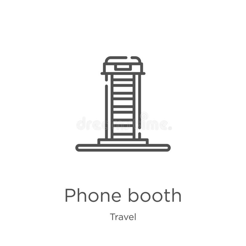 Phone booth icon vector from travel collection. Thin line phone booth outline icon vector illustration. Outline, thin line phone. Phone booth icon. Element of vector illustration