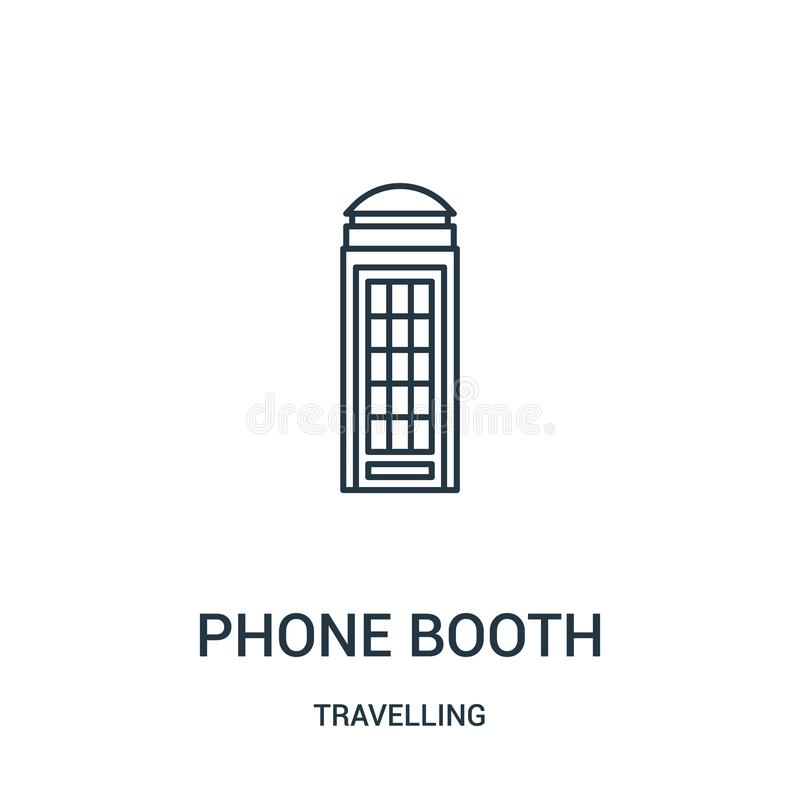 phone booth icon vector from travelling collection. Thin line phone booth outline icon vector illustration. Linear symbol stock illustration