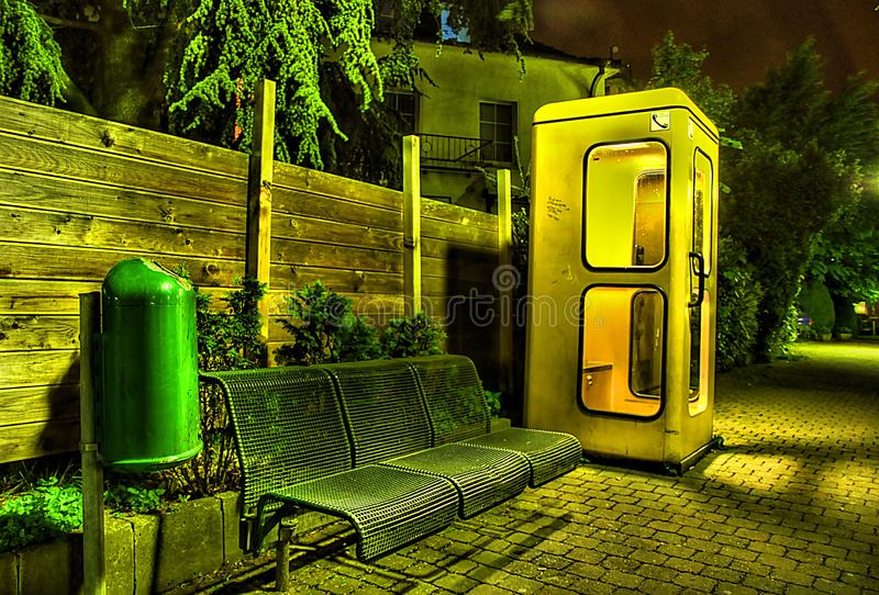 Phone Booth at Night. Taken in 2015 stock image