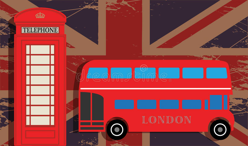 Phone booth. And red bus on UK flag royalty free illustration