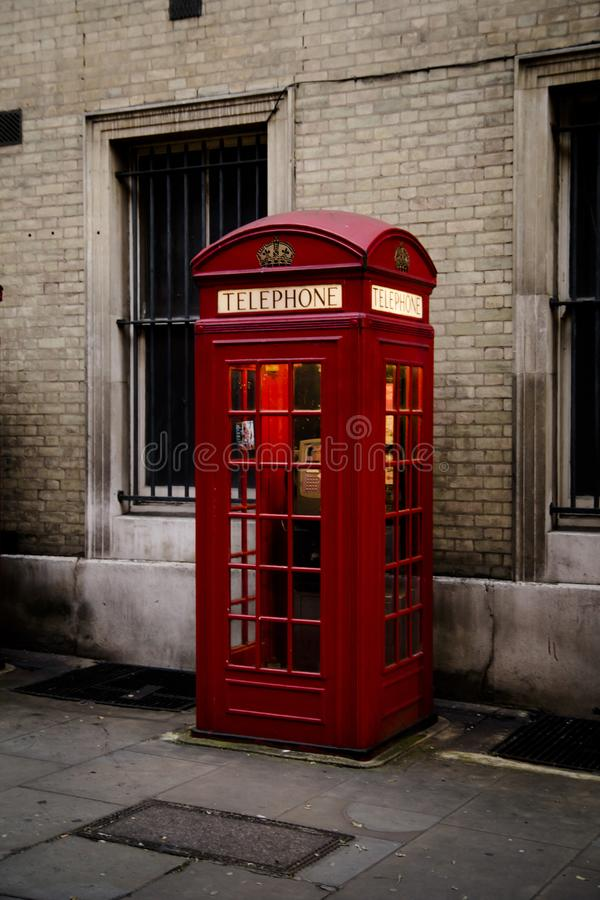 Phone Booth. Red Phone booth at Covent Garden, London royalty free stock photo