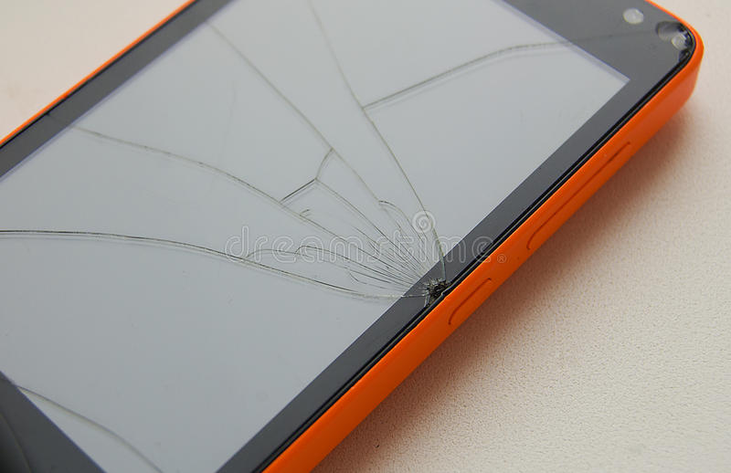 The phone is broken. Broken screen, phone repair royalty free stock image