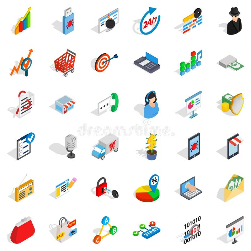Phone business icons set, isometric style. Phone business icons set. Isometric style of 36 phone business vector icons for web isolated on white background royalty free illustration