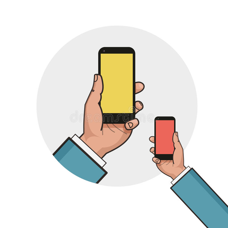 phone in businessman hand. Left hand using smartphone. royalty free illustration