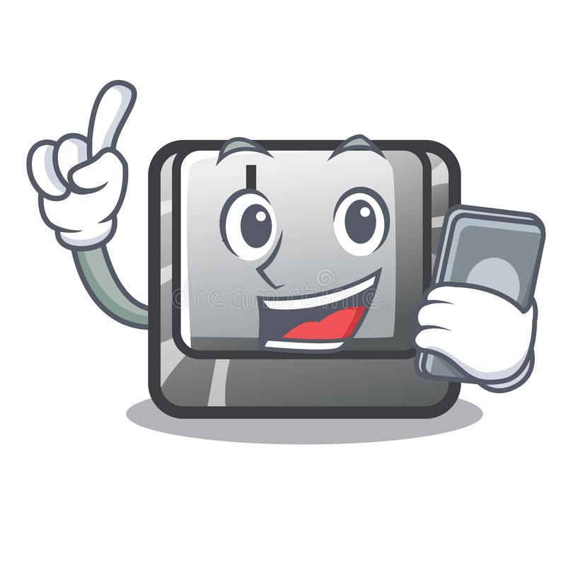 With phone button J installed on cartoon computer vector illustration