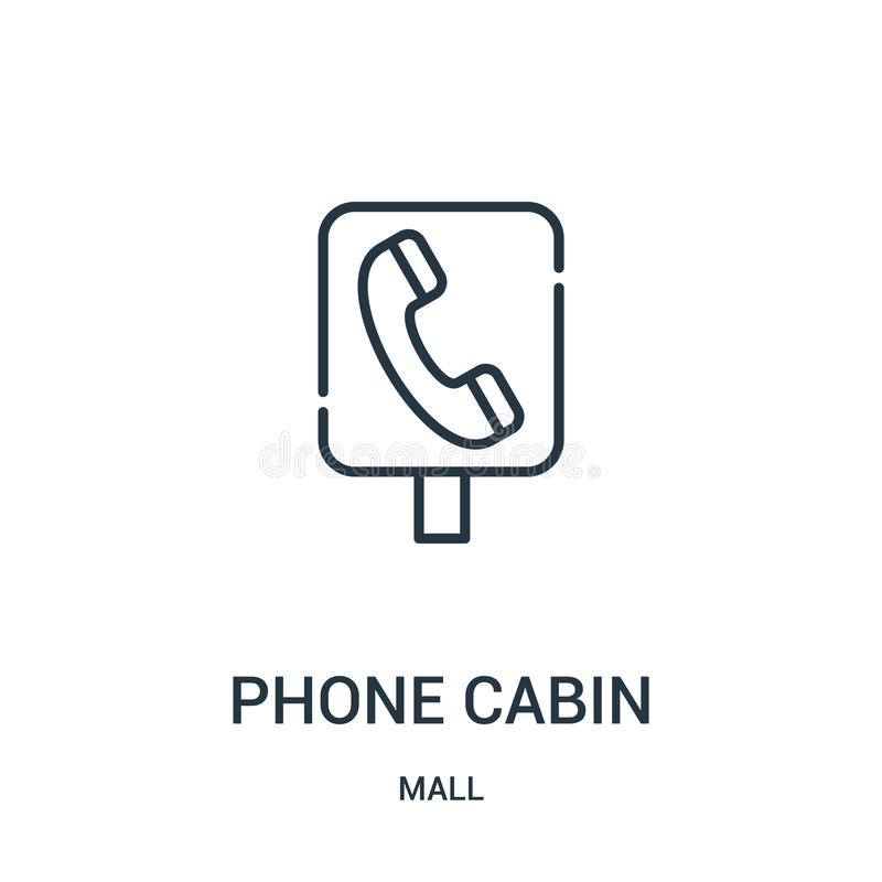 Phone cabin icon vector from mall collection. Thin line phone cabin outline icon vector illustration. Linear symbol for use on web. And mobile apps, logo, print royalty free illustration