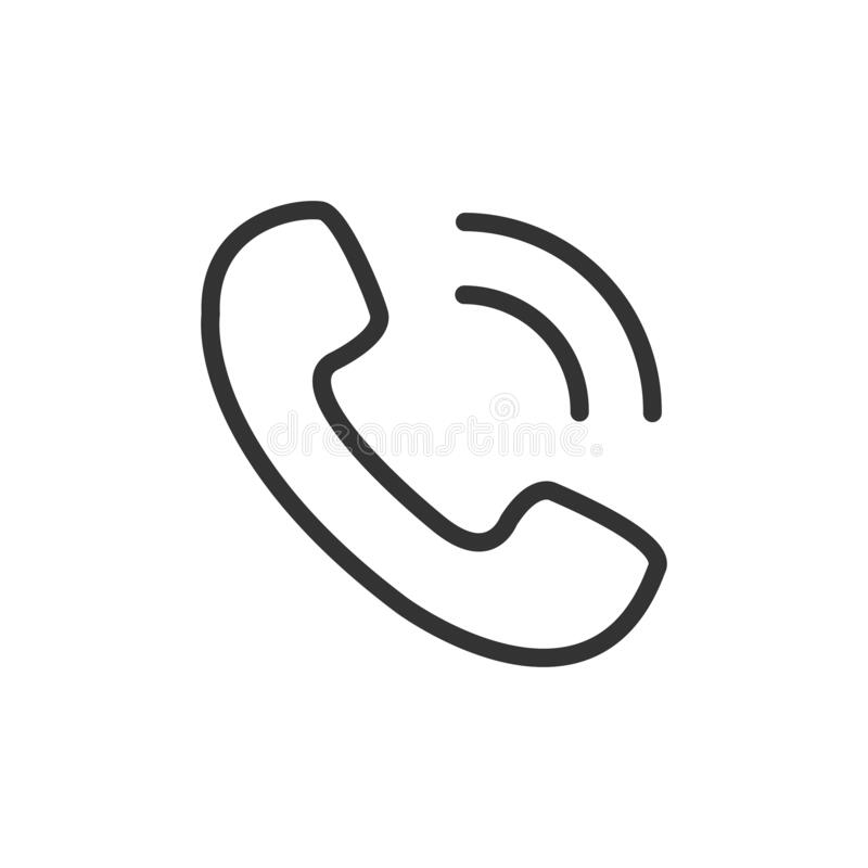Free Phone Call Icon. Black Contour Of Handset Old Symbol. Vector Isolated Royalty Free Stock Photography - 215867457