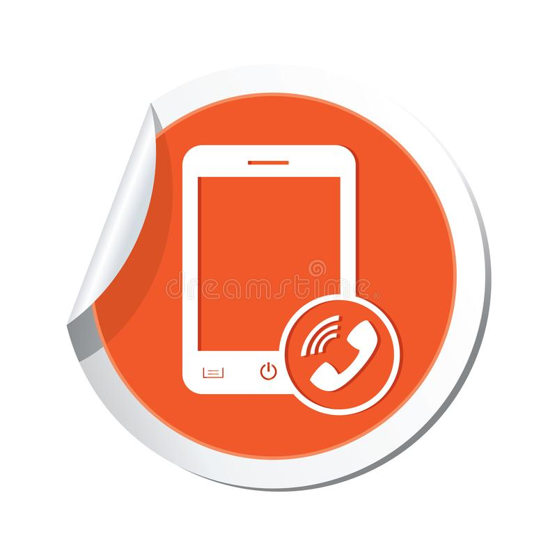 Phone with call icon on the sticker royalty free illustration