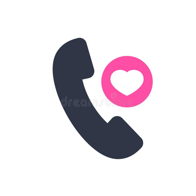Phone call icon, technology icon with heart sign. Phone call icon and favorite, like, love, care symbol. Vector illustration vector illustration