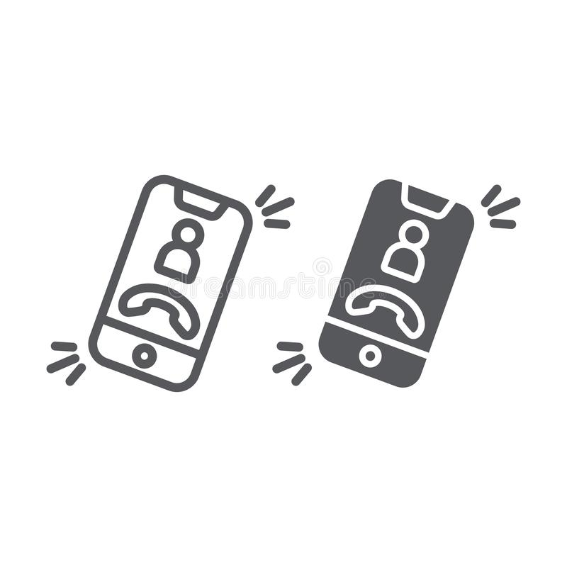 Phone call line and glyph icon, telephone and smartphone, incoming call sign, vector graphics, a linear pattern on a. White background, eps 10 vector illustration