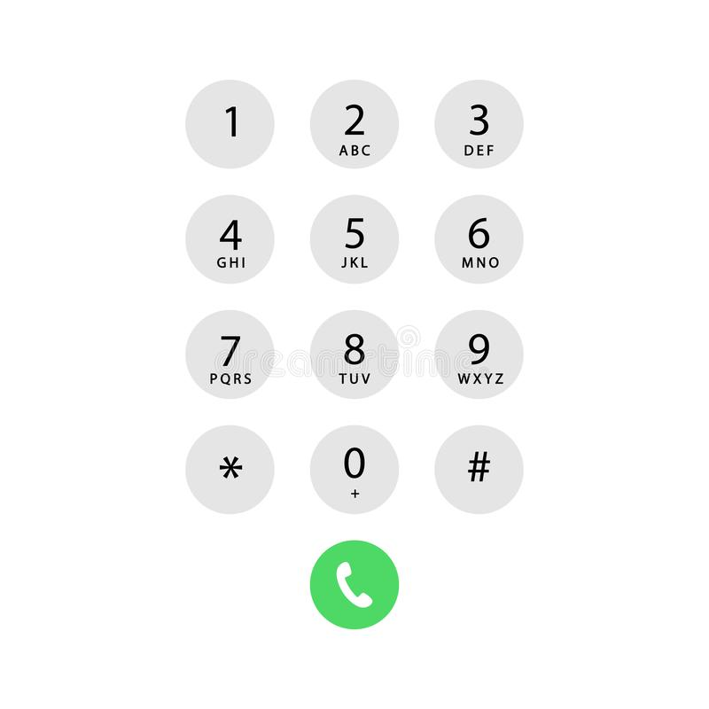 Phone call screen. Mobile keypad. Phone call screen vector illustration