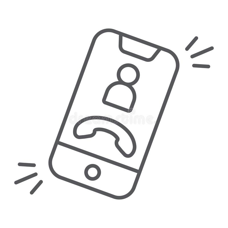 Phone call thin line icon, telephone and smartphone, incoming call sign, vector graphics, a linear pattern on a white. Background, eps 10 royalty free illustration