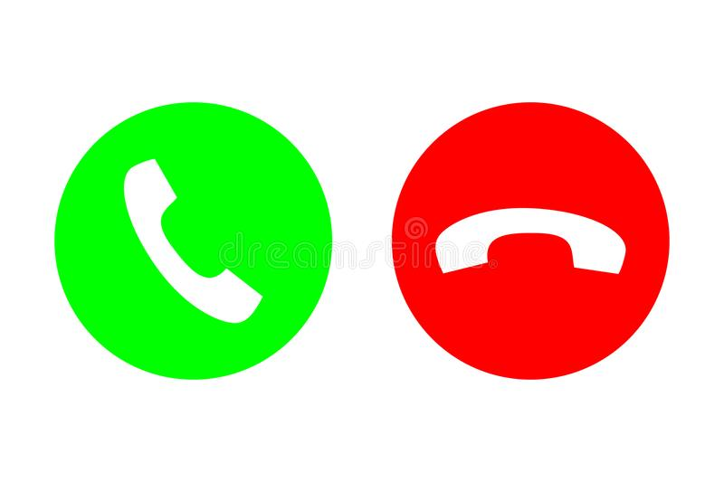 Phone call vector flat icon set with green call out or answer button and red hang up or decline button. Design for website, mobile royalty free illustration