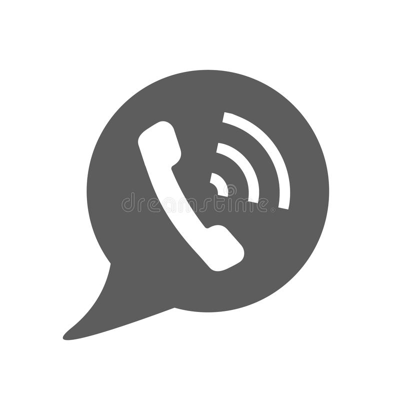 Phone Call vector icon. Style is flat rounded symbol, gray color, rounded angles, logo illustration stock illustration