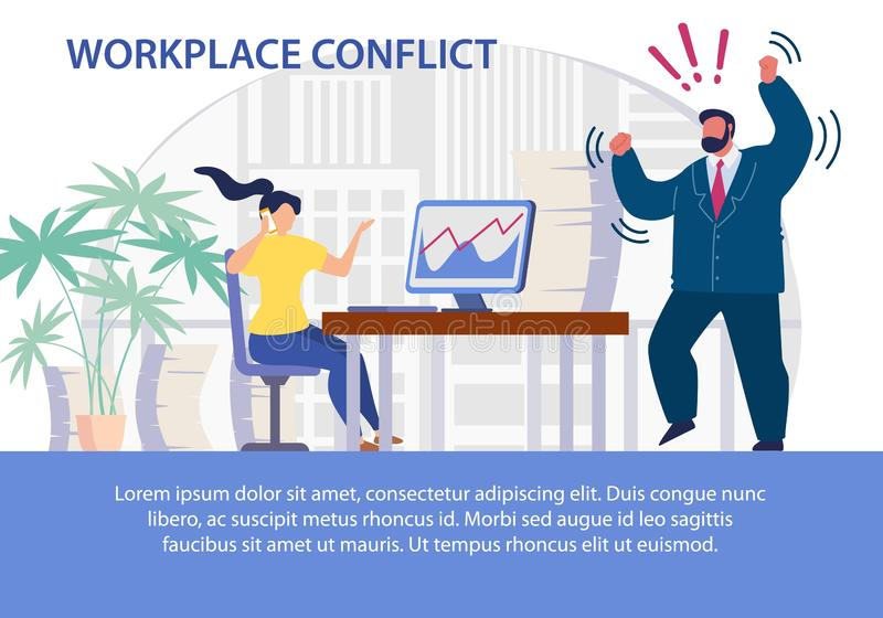 Phone Calls on Workplace Conflict Flat Poster royalty free illustration
