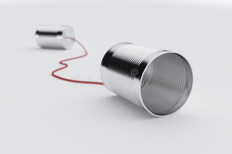 Phone can with red cable stock illustration