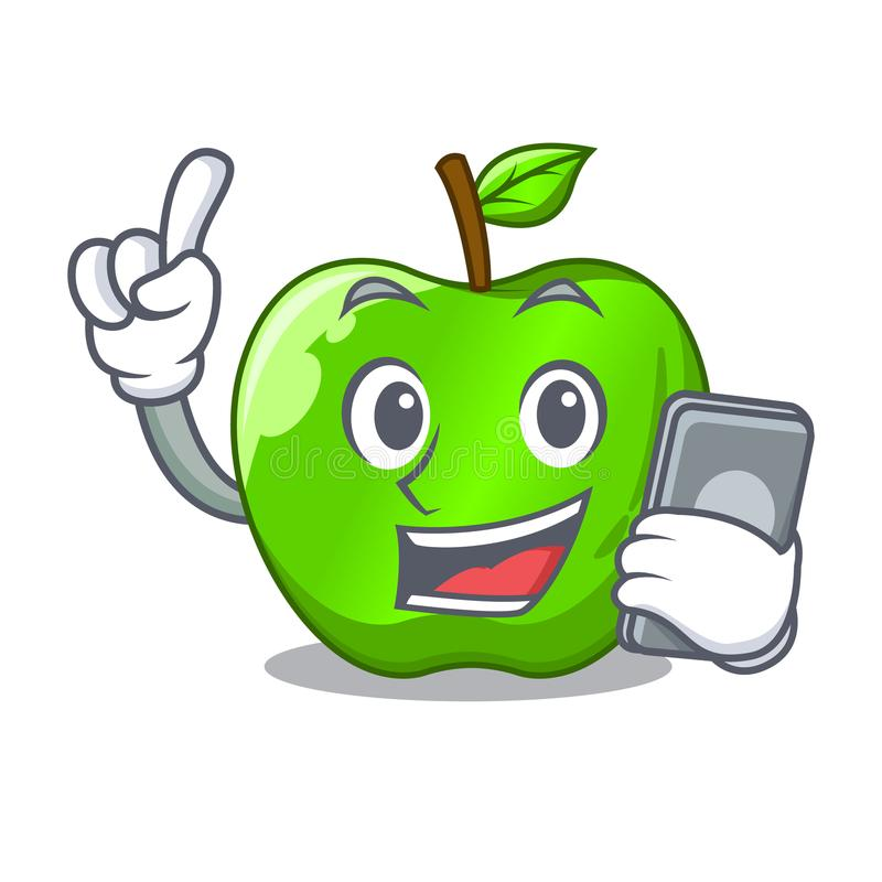 With phone cartoon of big shiny green apple stock illustration