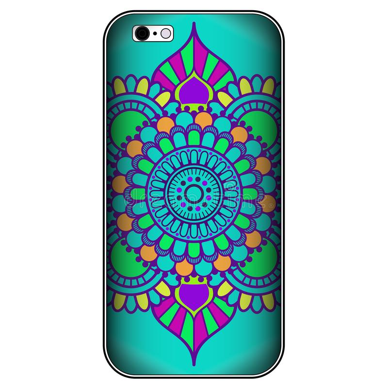 Phone case or smartphone cover vintage decorative elements in mehndi Indian, arabic style vector illustration