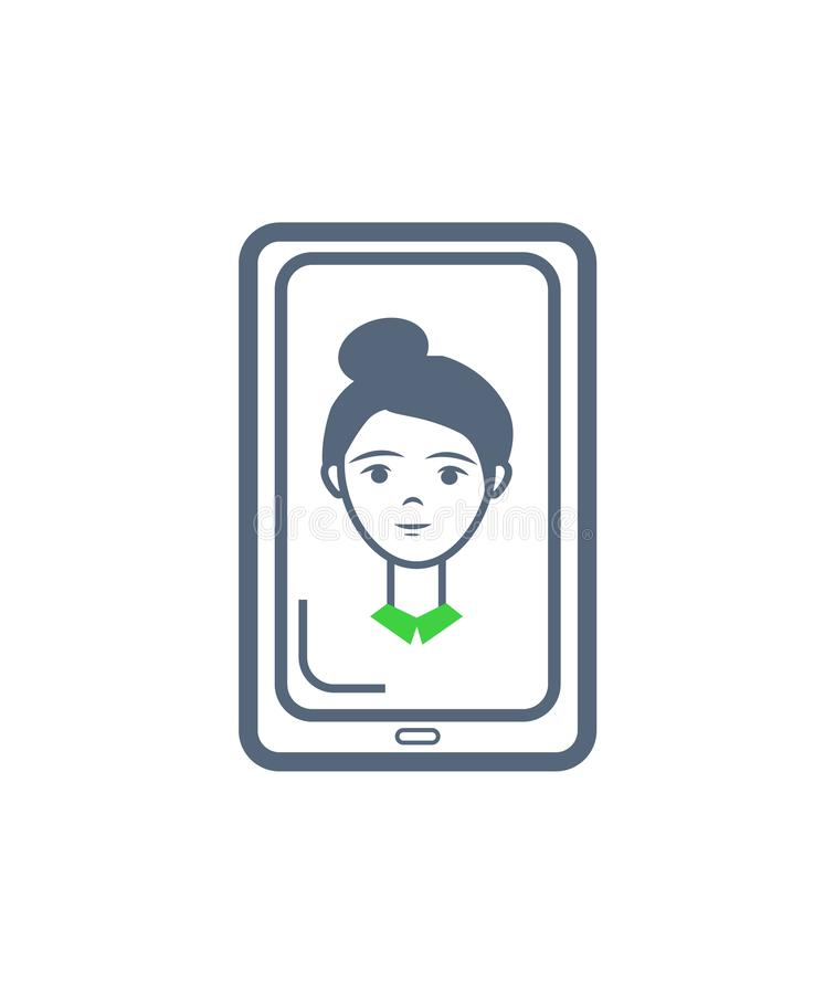 Phone Cell Female Icon on Monitor Screen Vector. Phone cell and female profile isolated icon monitor screen vector. Gadget with button, woman shown on mobile stock illustration