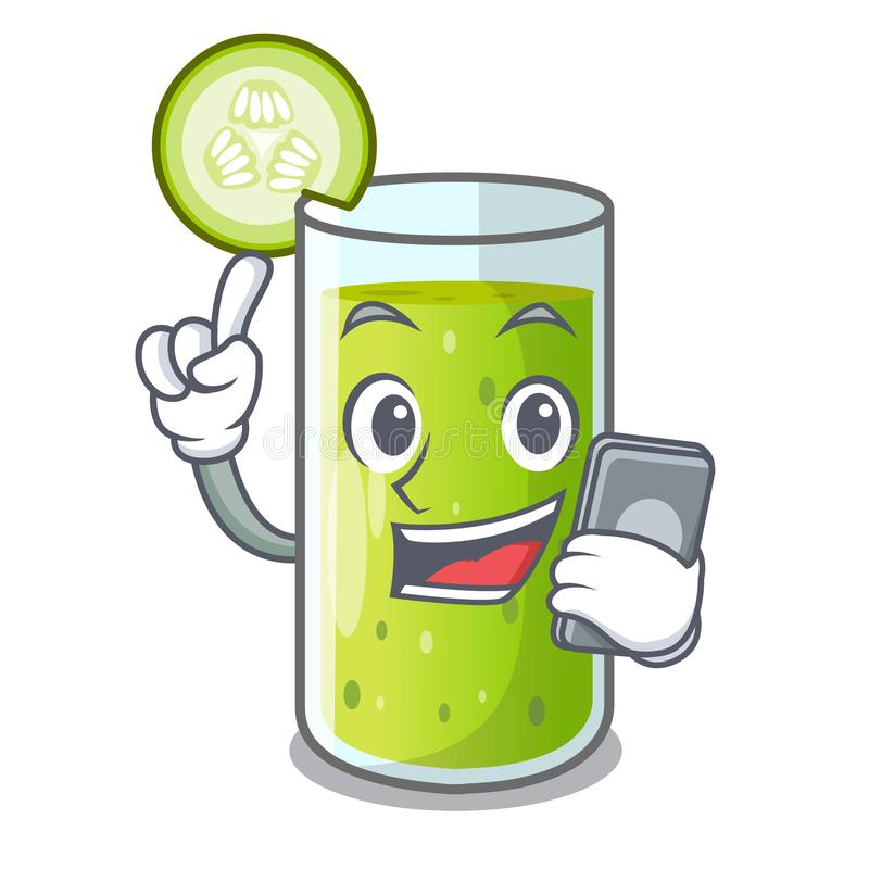 With phone character fresh juice of green cucumber vector illustration