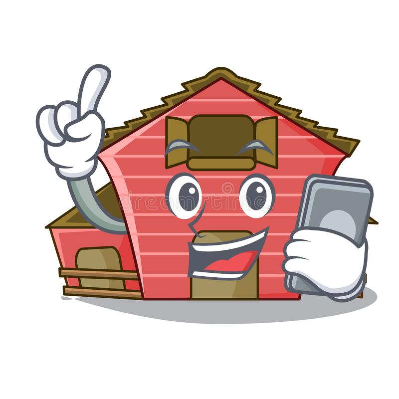 With phone character red barn building with haystack. Vector illustration vector illustration
