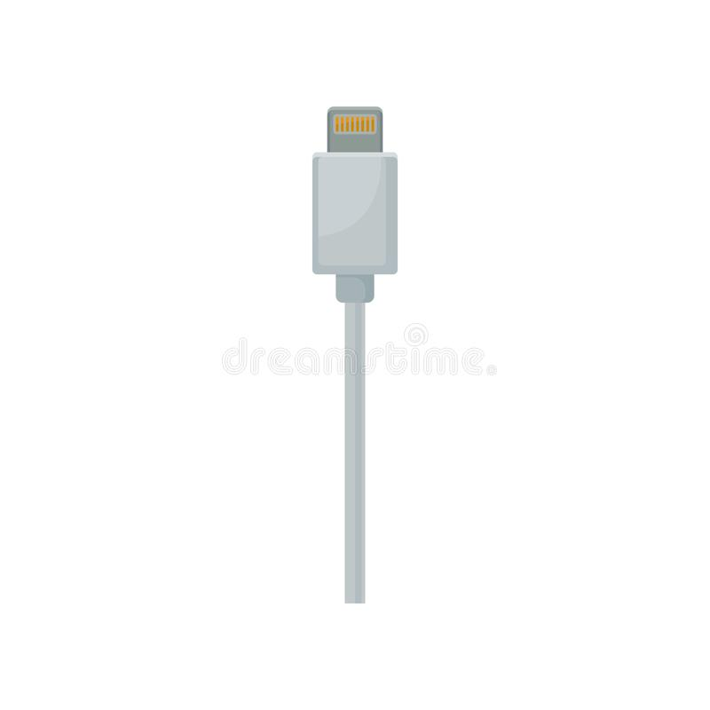 Phone charging and data connector with white cable. USB universal serial bus connector. Flat vector design royalty free illustration