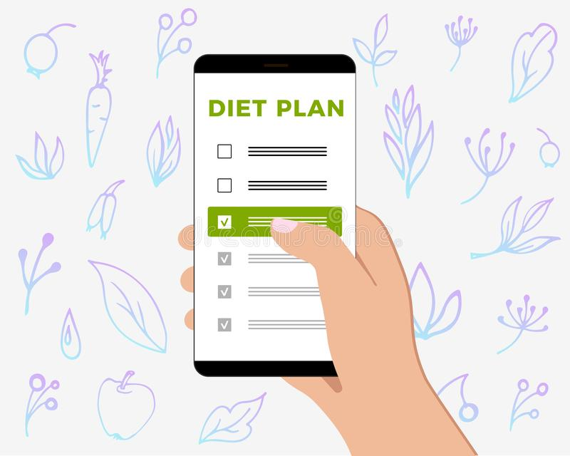 Phone with checklist diet plan in hand. Smartphone screen with a gentle background with healthy and natural products and plants. Phone with checklist diet plan stock illustration