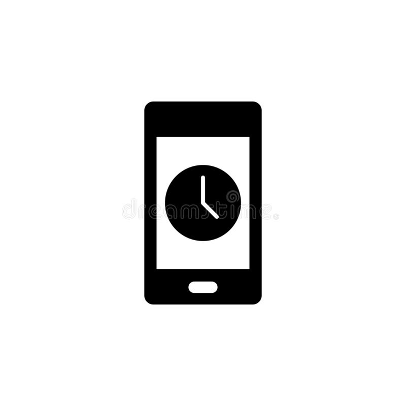 Phone, clock, time vector icon. Simple element illustration from UI concept.  Mobile concept vector illustration. Phone, clock,. Time vector icon on white royalty free illustration