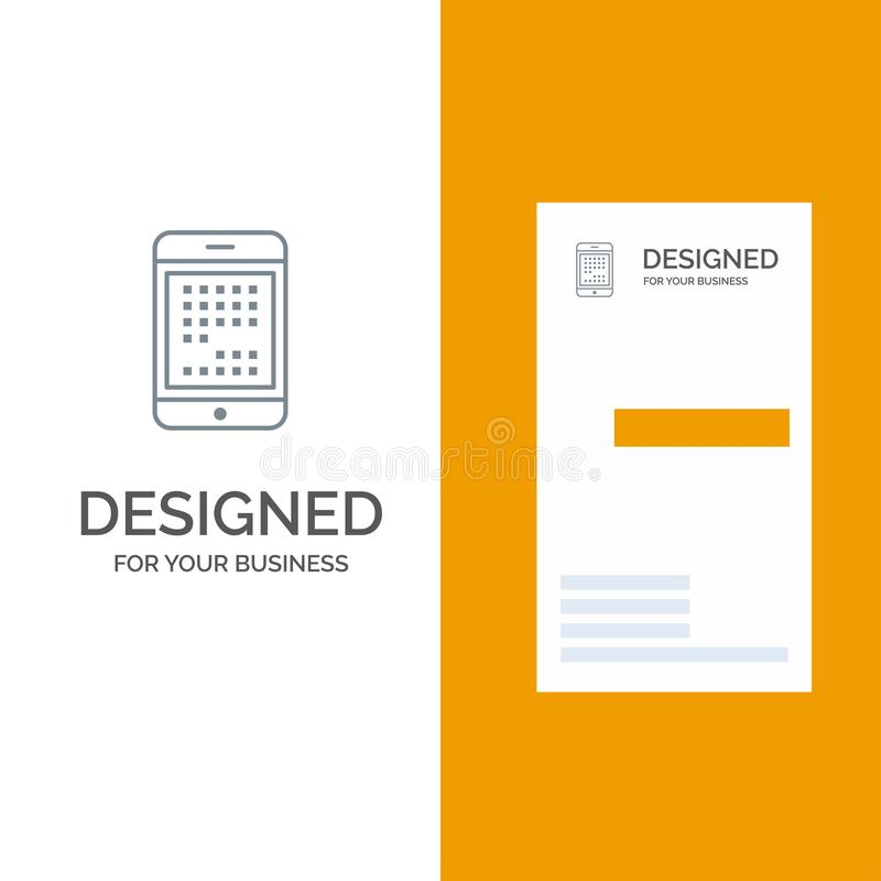 Phone, Computer, Device, Digital, Ipad, Mobile Grey Logo Design and Business Card Template stock illustration