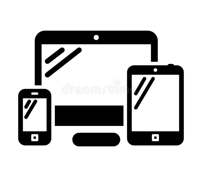 Phone, computer and tablet. Mobile phone, desktop computer and tablet PC black vector icon royalty free illustration