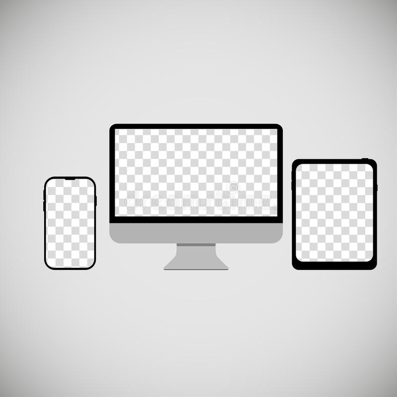 phone computer tablet empty screens grey background royalty free illustration
