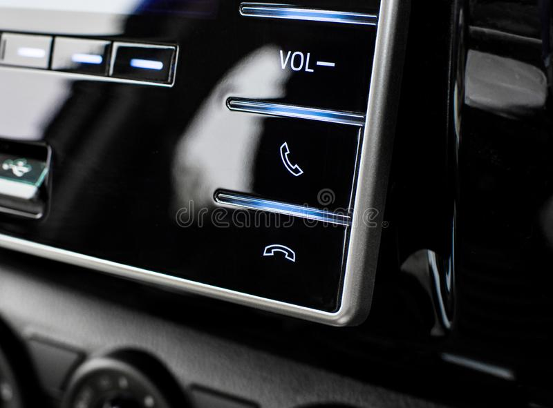 Phone control buttons in the multimedia control panel. royalty free stock images