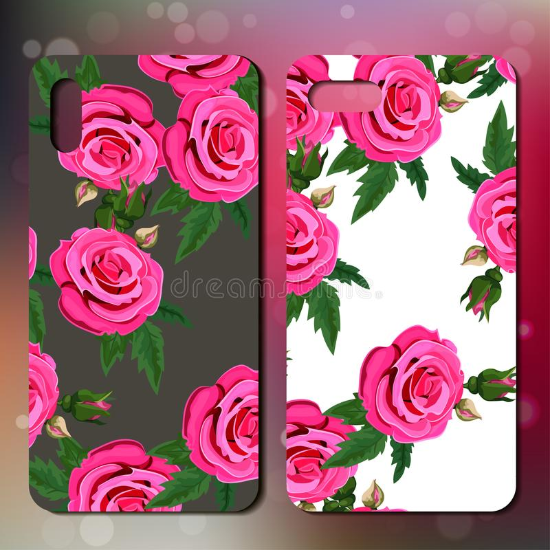 Phone cover with roses. Smart phonce cover or case with roses. Rose template for phone vector illustration