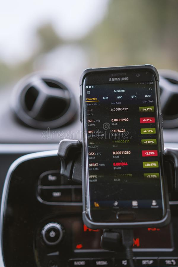 Phone with crypto currencies trading app in a car. Phone with crypto currencies trading app in a car on a mount stock photography