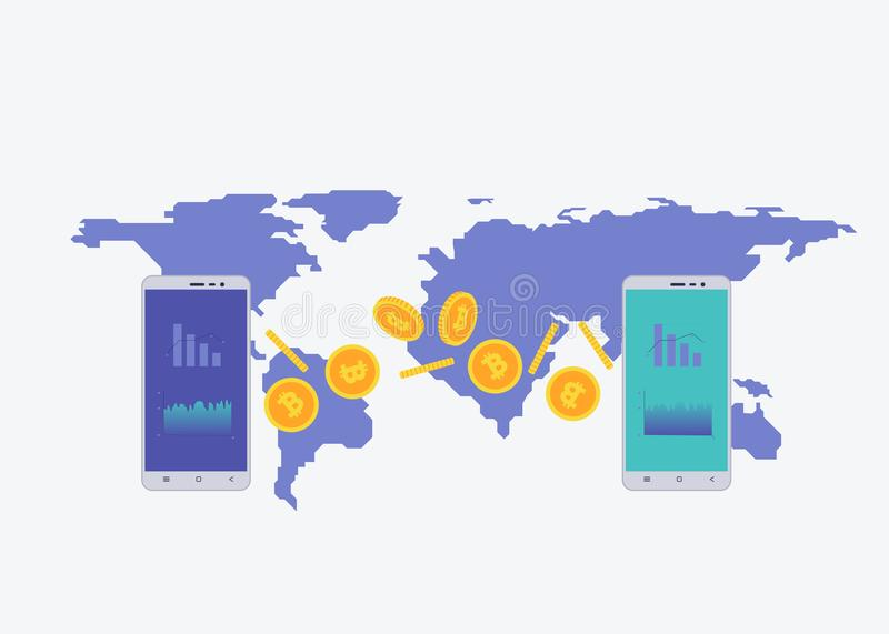 Phone with crypto currency on the screen with map on the background. Bitcoin trading concept. Diagram and statistic for royalty free illustration