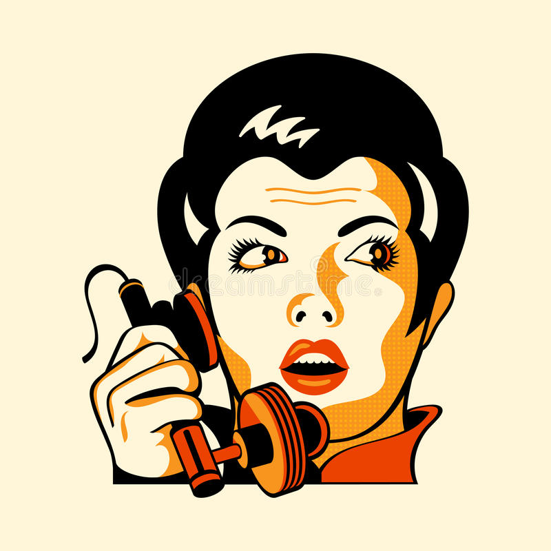 phone den retro kvinnan stock illustrationer
