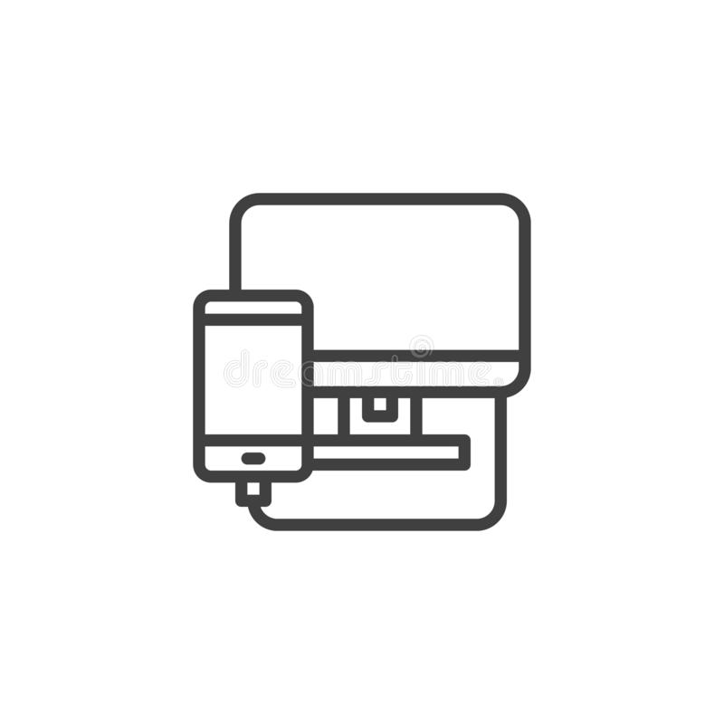 Phone diagnostics service line icon royalty free illustration