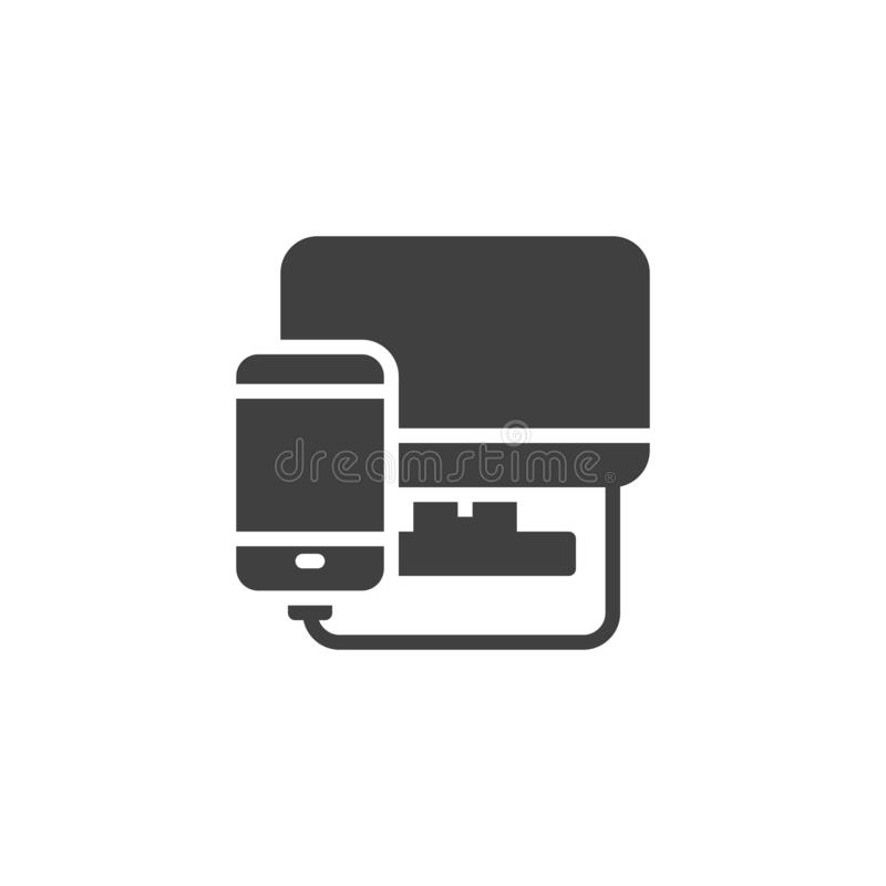 Phone diagnostics service vector icon. Filled flat sign for mobile concept and web design. Smartphone connected to computer monitor glyph icon. Mobile repair stock illustration