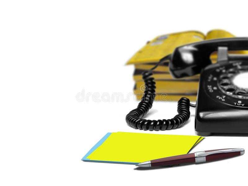 Phone directory. Image of telephone with blur directory background stock image