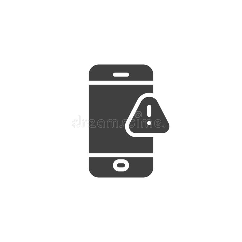 Phone with exclamation sign vector icon. Filled flat sign for mobile concept and web design. Smartphone alert notification glyph icon. Symbol, logo royalty free illustration