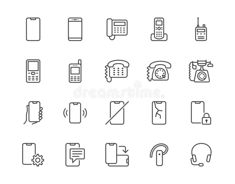 Phone flat line icons set. Smartphone, landline telephone, portable device, walkie talkie, broken display vector. Illustrations. Outline signs technology store stock illustration