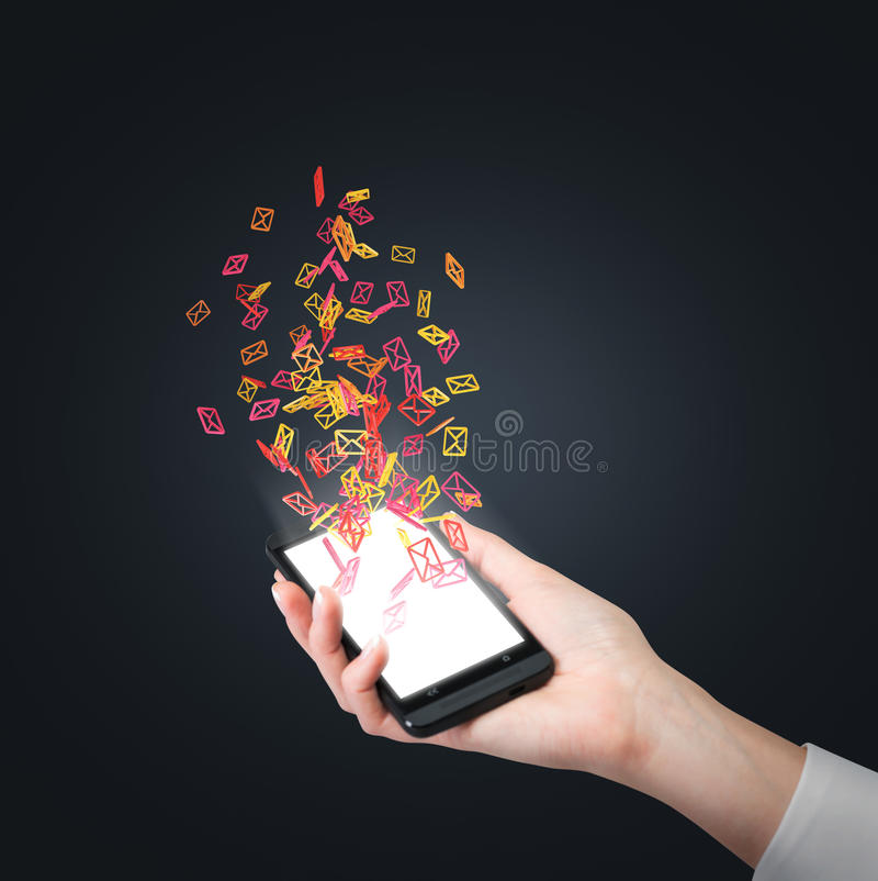 Phone with flying email sign stock image