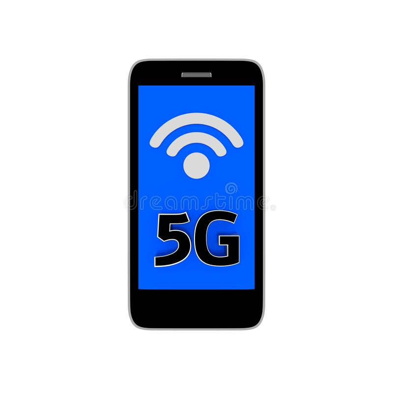 Phone with  5G white background. 3D rendering vector illustration