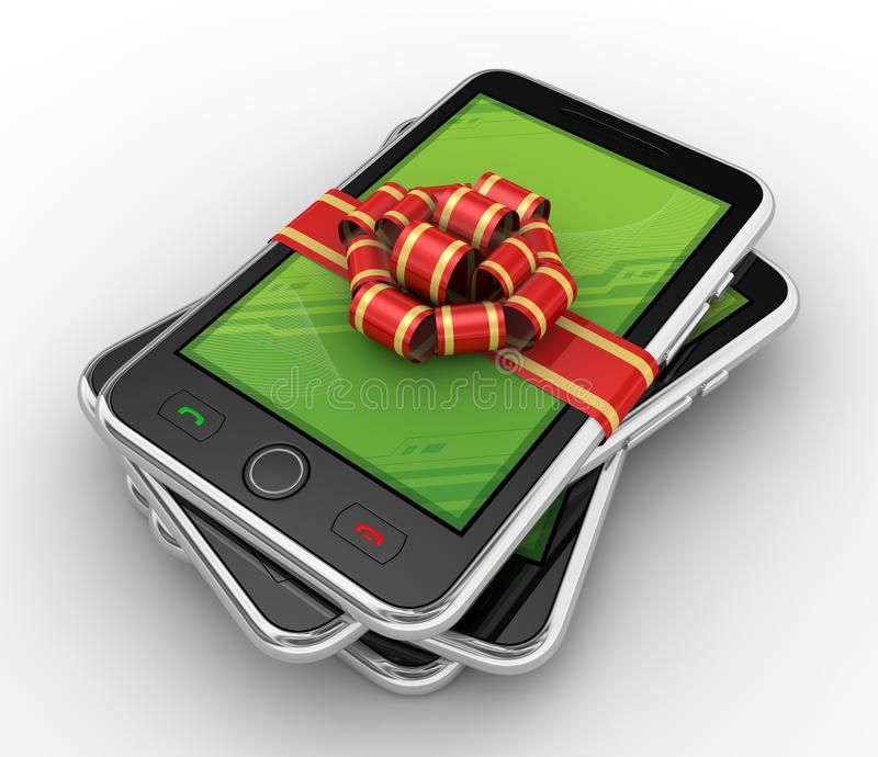 Download Phone In Gift On White Background Stock Illustration - Image: 19940205