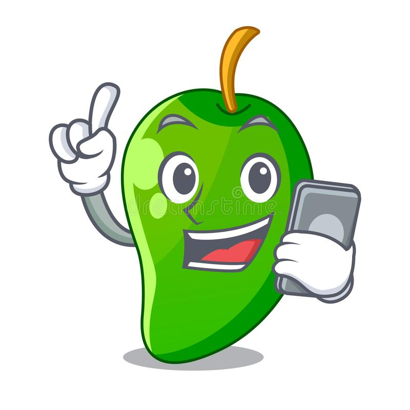 With phone green mango in basket of cartoons vector illustration