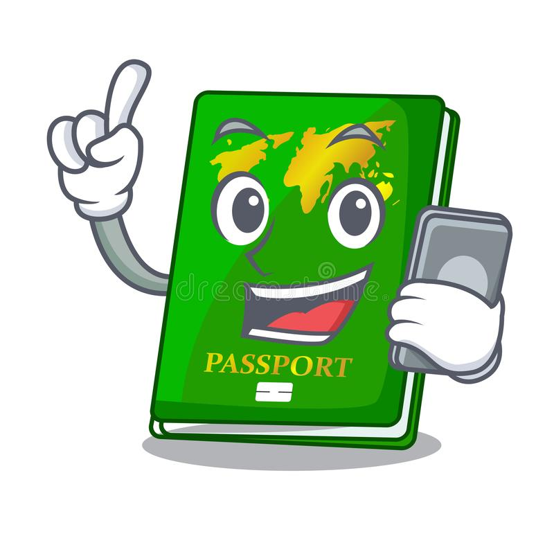 With phone green passport in a character bag. Vector illustration royalty free illustration